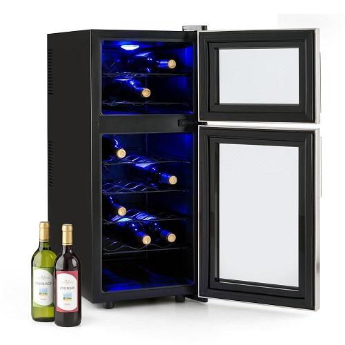 Klarstein Reserva 21 gefuellt mit Weinflaschen
